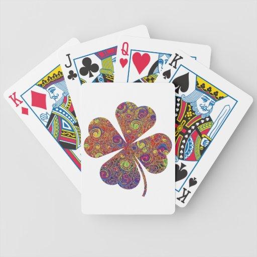 Naipes afortunados del trébol barajas de cartas