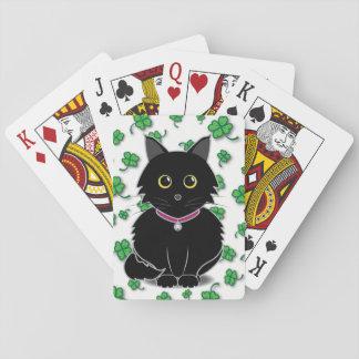 Naipes afortunados del trébol de Zelda del gato