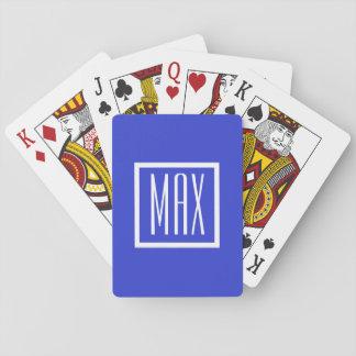 Naipes azules personalizados monograma del póker