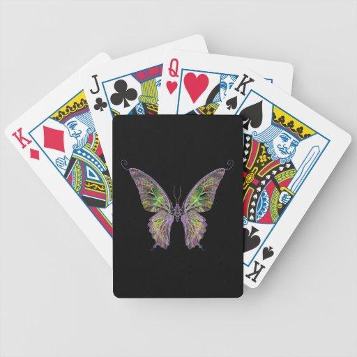 Naipes coloridos de la mariposa barajas