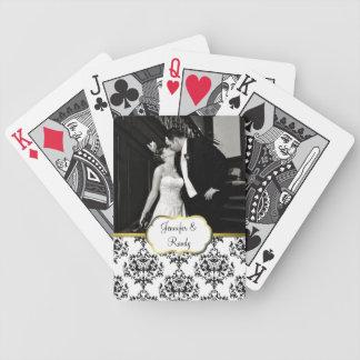 Naipes de encargo de la foto del boda del damasco