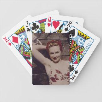 Naipes de la mujer del vintage baraja de cartas