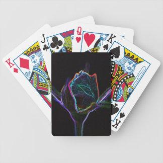 Naipes del capullo de rosa del borde que brillan i cartas de juego