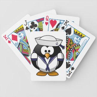 Naipes del marinero del pingüino baraja cartas de poker