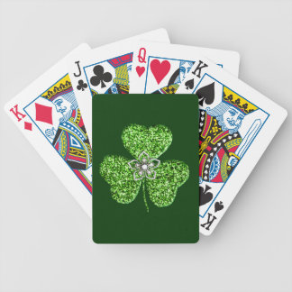 Naipes del trébol y de la flor del brillo baraja de cartas