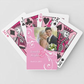 Naipes florales rosados de la foto del boda del