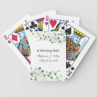Naipes irlandeses del favor del boda del trébol baraja cartas de poker
