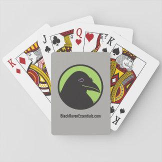 Naipes negros del logotipo del esencial del cuervo