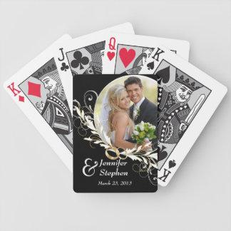 Naipes negros y blancos del vintage del boda de la