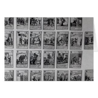 Naipes que representan episodios tarjeta de felicitación