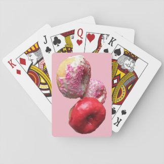 Naipes rosados del buñuelo de la diversión