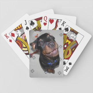 Naipes sonrientes del perrito de Rottweiler