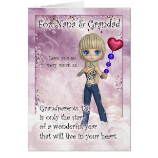 Nana y Grandad, tarjeta del día de los abuelos - L