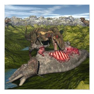 Nanotyrannus que come el triceratops muerto invitación 13,3 cm x 13,3cm
