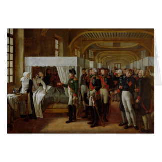 Napoleon que visita la enfermería de Invalides Tarjeton