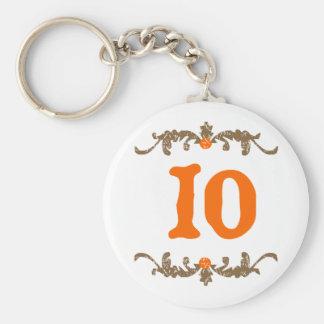 Naranja #10 y voluta de Brown Llavero Redondo Tipo Chapa