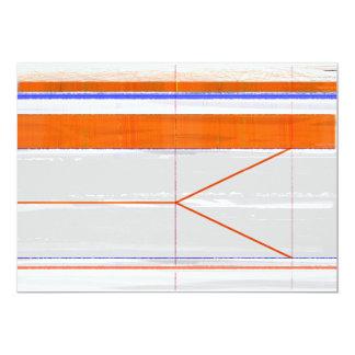 Naranja abstracto y blanco invitación 12,7 x 17,8 cm