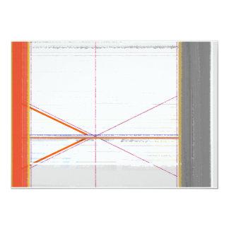Naranja abstracto y gris invitación 12,7 x 17,8 cm