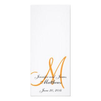 Naranja blanco de lino del monograma del programa invitación 10,1 x 23,5 cm