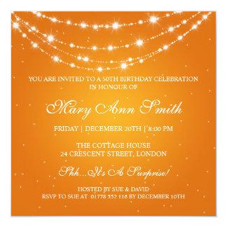 Naranja de cadena el 50.o de cumpleaños de las invitación 13,3 cm x 13,3cm