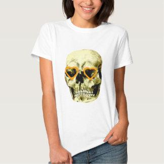 Naranja de los corazones del cráneo los regalos de camiseta