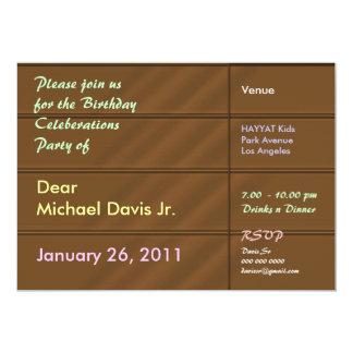 Naranja de lujo del satén con el texto de la invitación 12,7 x 17,8 cm