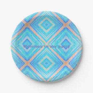Naranja del azul de la placa de papel plato de papel