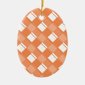 Naranja del Celosia de la tela escocesa 3 Adorno Ovalado De Cerámica