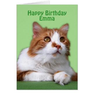 Naranja del feliz cumpleaños de Emma y gato del Tarjeta De Felicitación
