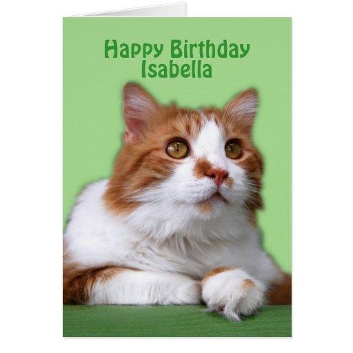 Naranja del feliz cumpleaños de Isabel y gato del  Tarjetas