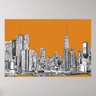 Naranja del horizonte de Nueva York Posters