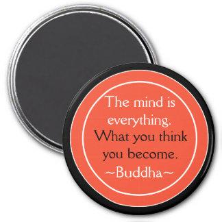 Naranja del negro de la cita de Buda inspirado Imanes