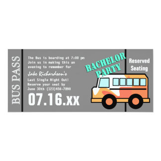 Naranja del paso del autobús de la despedida de invitación 10,1 x 23,5 cm