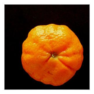Naranja del poster de la fruta en arte negro de la