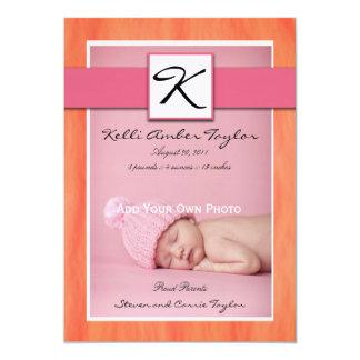 Naranja del rosa de la invitación del nacimiento invitación 12,7 x 17,8 cm