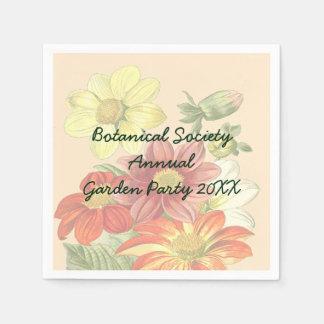 Naranja del vintage y fiesta de jardín de las servilletas desechables
