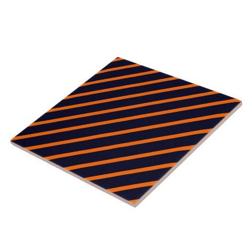 Naranja diagonal de la raya de la teja - azul mari