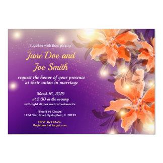 Naranja e invitación floral púrpura del boda