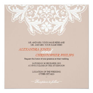 Naranja elegante simple del boda del texto del invitación 13,3 cm x 13,3cm
