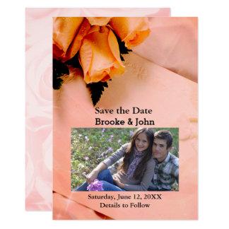 Naranja elegante y reserva rosada de la suposición invitación 12,7 x 17,8 cm