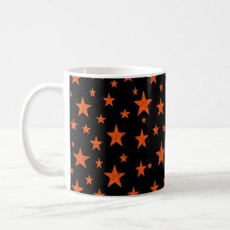 Naranja estrellado de la noche estrellada taza de café