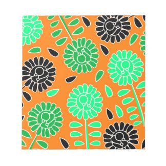 naranja floral del contraste bloc de notas
