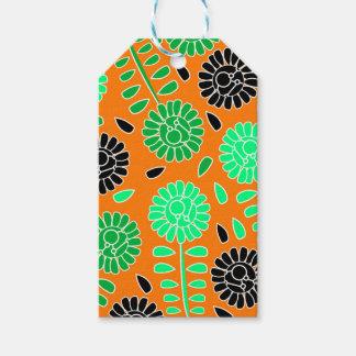 naranja floral del contraste etiquetas para regalos