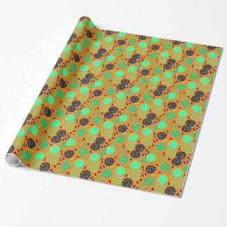 naranja floral del contraste papel de regalo