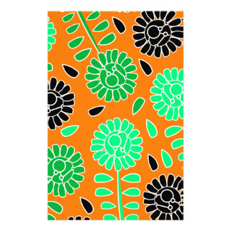 naranja floral del contraste papelería