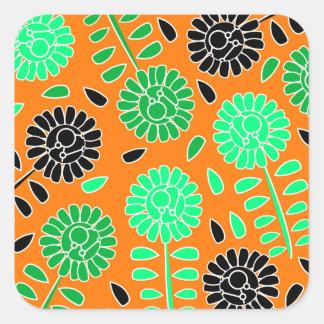 naranja floral del contraste pegatina cuadrada