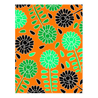 naranja floral del contraste postal