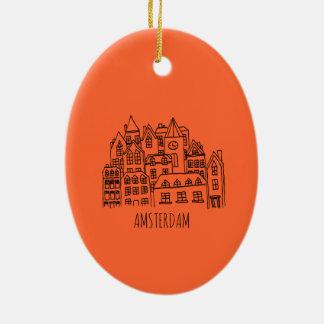 Naranja holandés del recuerdo de la ciudad de adorno de cerámica