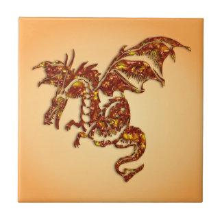 Naranja llameante del dragón azulejo cuadrado pequeño