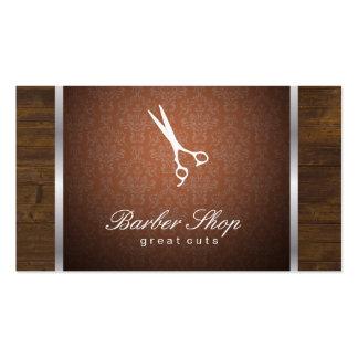 Naranja/madera/borde de plata del damasco tarjetas de visita
